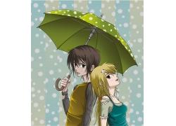 打雨伞的女孩插画图片