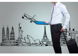 商务男士与旅游景点