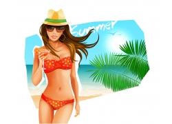 夏日沙滩美女矢量素材图片