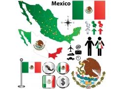 墨西哥地图国旗