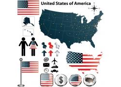 美国地图国旗图片
