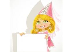 卡通女孩与广告牌图片