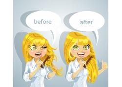 梳头发的卡通女孩图片