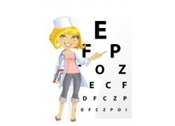卡通女孩与视力表图片
