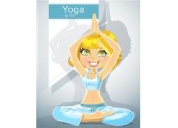 练瑜珈的卡通女孩图片
