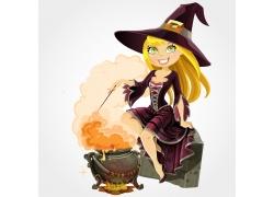 卡通魔法师女孩图片