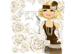 卡通女孩与玫瑰花背景图片