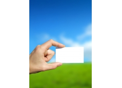 手与白卡片