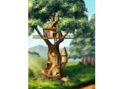 卡通树木房子插画