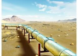 沙漠上的输油管道