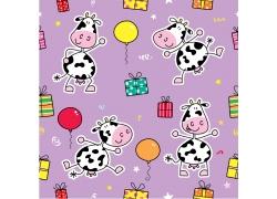 紫色背景下的奶牛礼物和气球