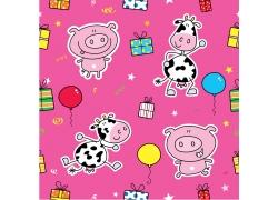 粉色背景下的卡通猪和奶牛