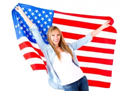 身披美国国旗的美女