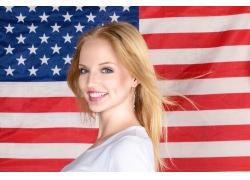 时尚美女与美国国旗