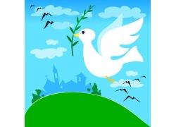 衔着橄榄枝飞行的和平鸽图片