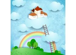 白云上的卡通房子