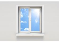 窗户外的蓝天白云