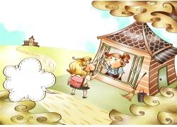 可爱卡通女孩与卡通房子图片