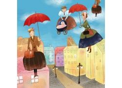打雨伞的卡通美女图片