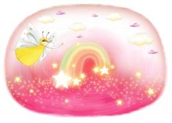 梦幻彩虹与卡通女孩图片