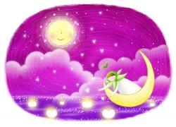 卡通月亮上的卡通女孩图片