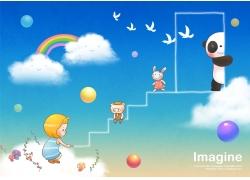 卡通熊猫与卡通女孩图片
