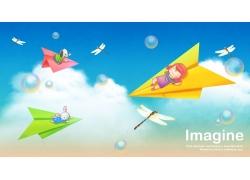 纸飞机上的卡通女孩图片