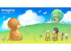 卡通小熊与卡通女孩图片