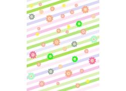彩色斜条纹背景花朵图案