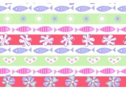 绿白红条纹背景太阳鱼花朵图案