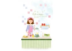 在厨房榨果汁的卡通女孩图片