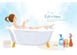 在泡澡的卡通女孩图片