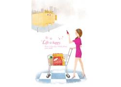 正在商场购物的卡通女孩图片