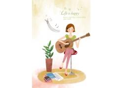 正在弹吉他的卡通女孩图片