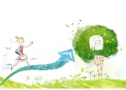 朝箭头方向走上树里的小屋的女孩图片