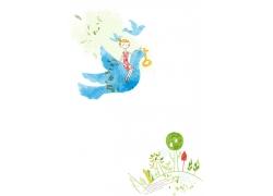 坐在鸽子上的卡通女孩图片