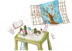 桌子上的房子和窗外的树木图片