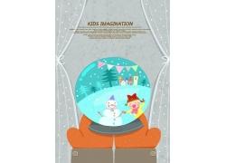 水晶球里的雪人和小女孩图片
