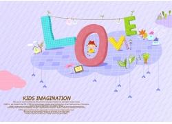 立体手绘love和女孩图片