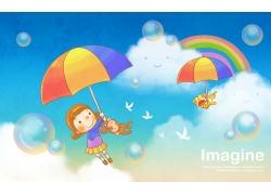 打雨伞的卡通女孩图片