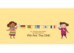 卡通女孩与国旗图片