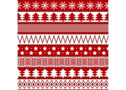 红白条纹背景雪花圣诞树图案