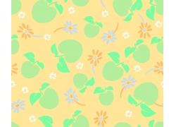 黄色背景苹果叶子小花图案