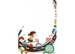 沿着弧形轨道骑单车的小女孩图片