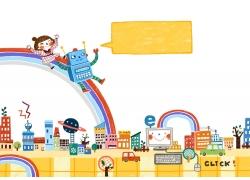 彩虹滑梯上的女孩和机器人图片