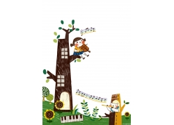 坐在树枝上弹吉他的小女孩图片