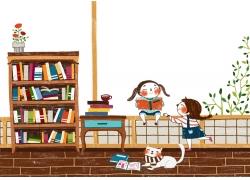 坐在栏杆看书的小女孩图片