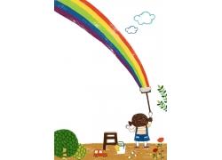 画出彩虹的女孩图片