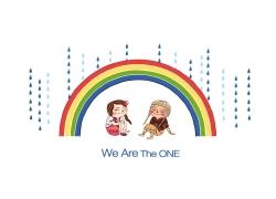 坐在彩虹底下躲雨的女孩图片