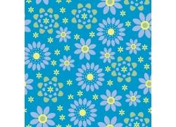 蓝色背景黄色花朵小花图案
